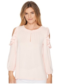 Ralph Lauren Ruffled Jersey Cold-Shoulder Blouse