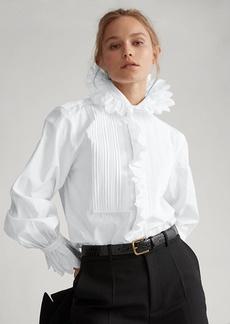 Ralph Lauren Ruffled Necktie Cotton Shirt