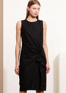 Ruffled Pinstriped Wool Dress