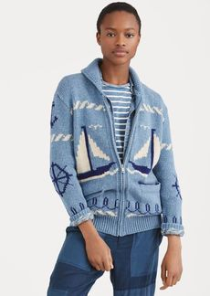 Ralph Lauren Sailboat Shawl Sweater