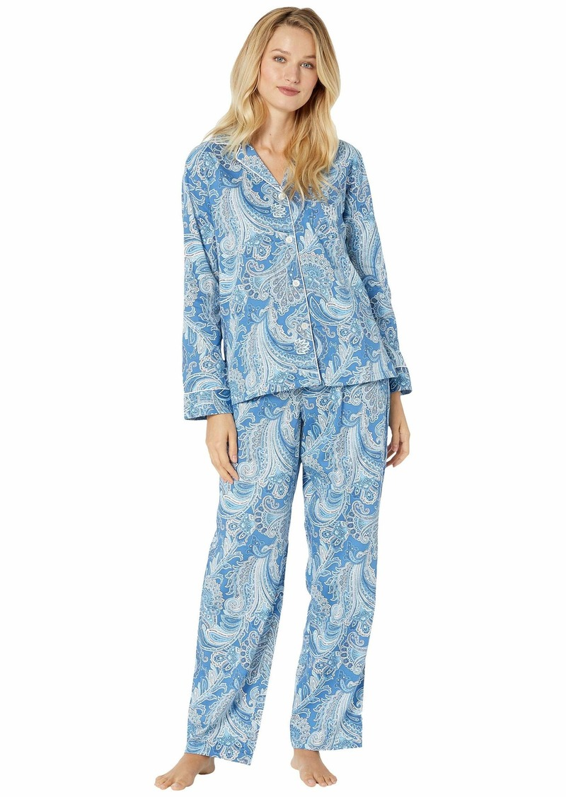 Ralph Lauren Sateen Long Sleeve Pointed Collar Long Pants Pajama Set