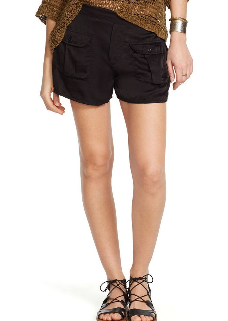 Ralph Lauren Satin Buttoned-Pocket Short