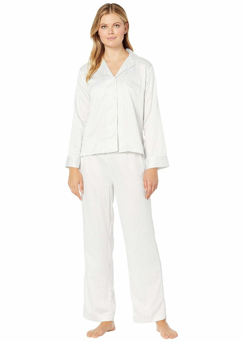 Ralph Lauren Satin Long Sleeve Notch Collar Ankle Pants PJ Set