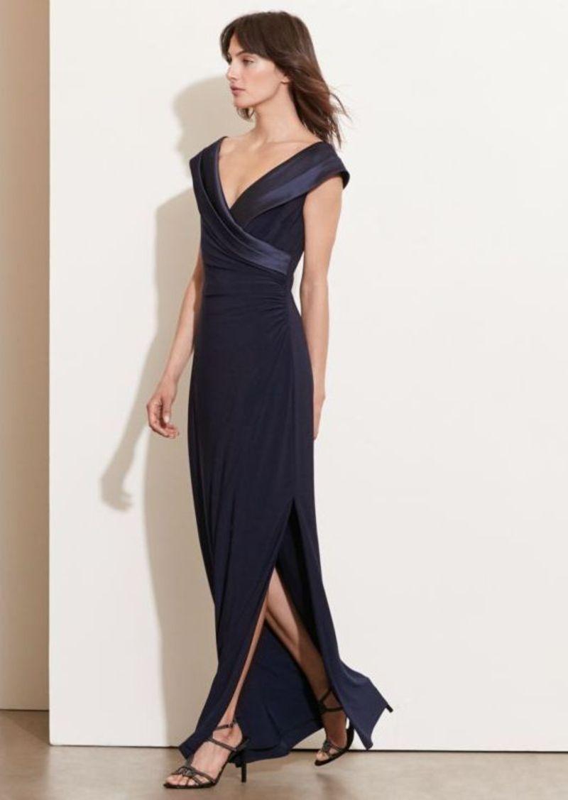 Ralph Lauren Satin-Neckline Jersey Gown | Dresses