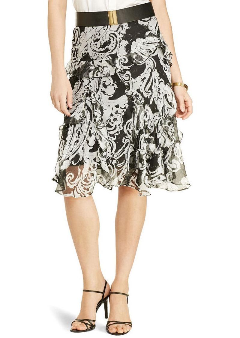 Ralph Lauren Scroll-Print Ruffled Skirt
