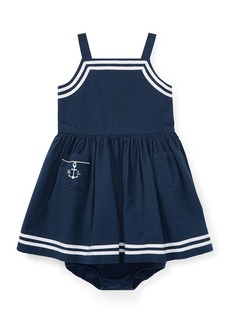 Ralph Lauren Seersucker Woven Sleeveless Dress w/ Bloomers