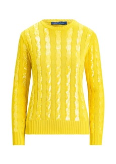 Ralph Lauren Sequin Silk Knit Crewneck Sweater