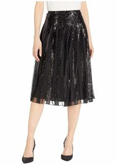 Ralph Lauren Sequin-Stripe Tulle Skirt