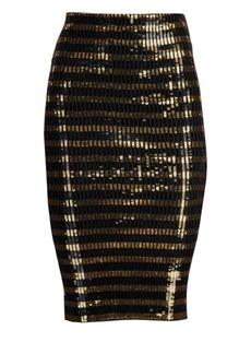 Ralph Lauren Sequin Striped Pencil Skirt