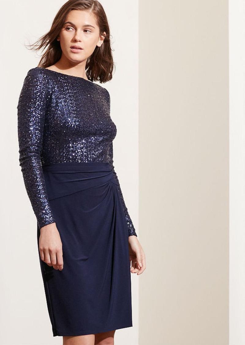 Ralph Lauren Sequined-Bodice Jersey Dress