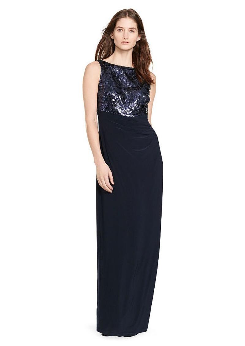Ralph Lauren Sequined-Bodice Jersey Gown