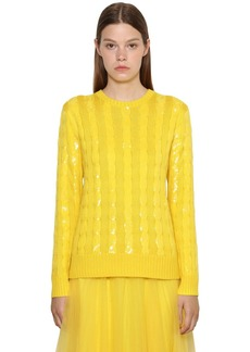 Ralph Lauren Sequined Cable Silk Knit Sweater
