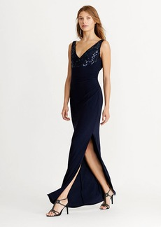 Sequined Cowl-Back Jersey Gown