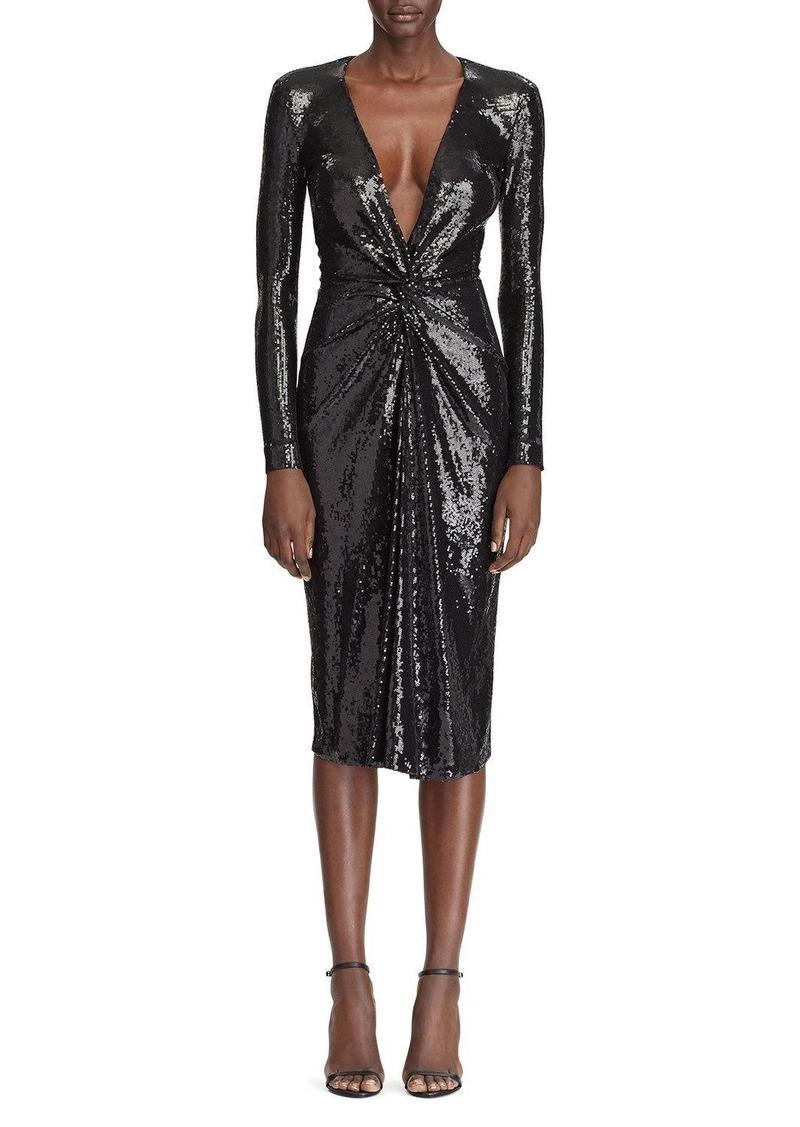 Ralph Lauren Sequined Deep V-Neck Twisted Dress