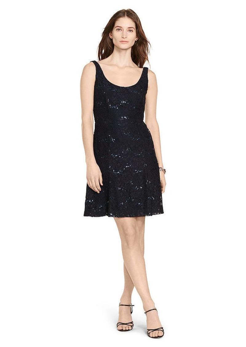 Ralph Lauren Sequined Floral Lace Dress