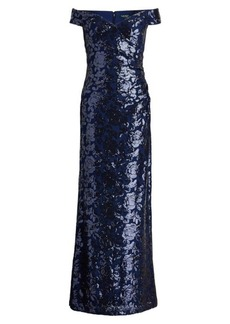 Ralph Lauren Sequined Off-the-Shoulder Gown