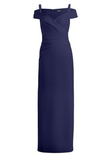 Ralph Lauren Sequined-Strap Crepe Gown