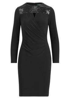 Ralph Lauren Sequined-Yoke Jersey Dress