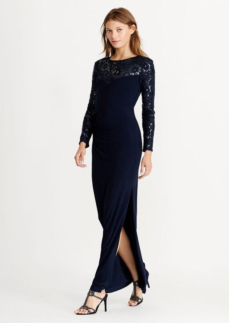 Ralph Lauren Sequined-Yoke Jersey Gown | Dresses