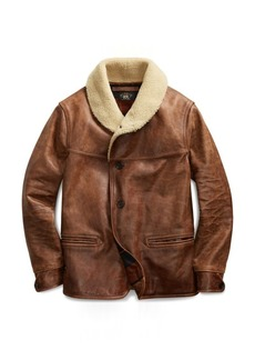 Ralph Lauren Shearling-Trim Leather Coat