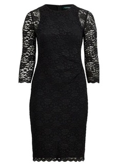 Ralph Lauren Sheer-Sleeve Lace Dress
