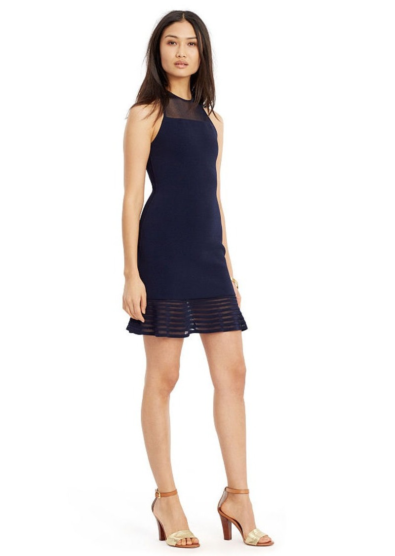 Ralph Lauren Sheer-Yoke Racerback Dress