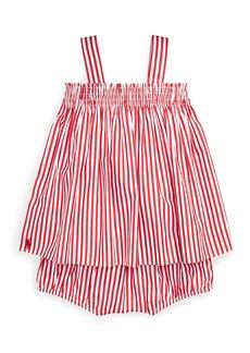 Ralph Lauren Shirred Bengal Stripe Dress w/ Matching Bloomers  Size 6-24 Months