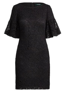 Ralph Lauren Shirred-Sleeve Lace Dress