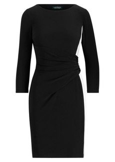 Ralph Lauren Shirred Two-Tone Jersey Dress