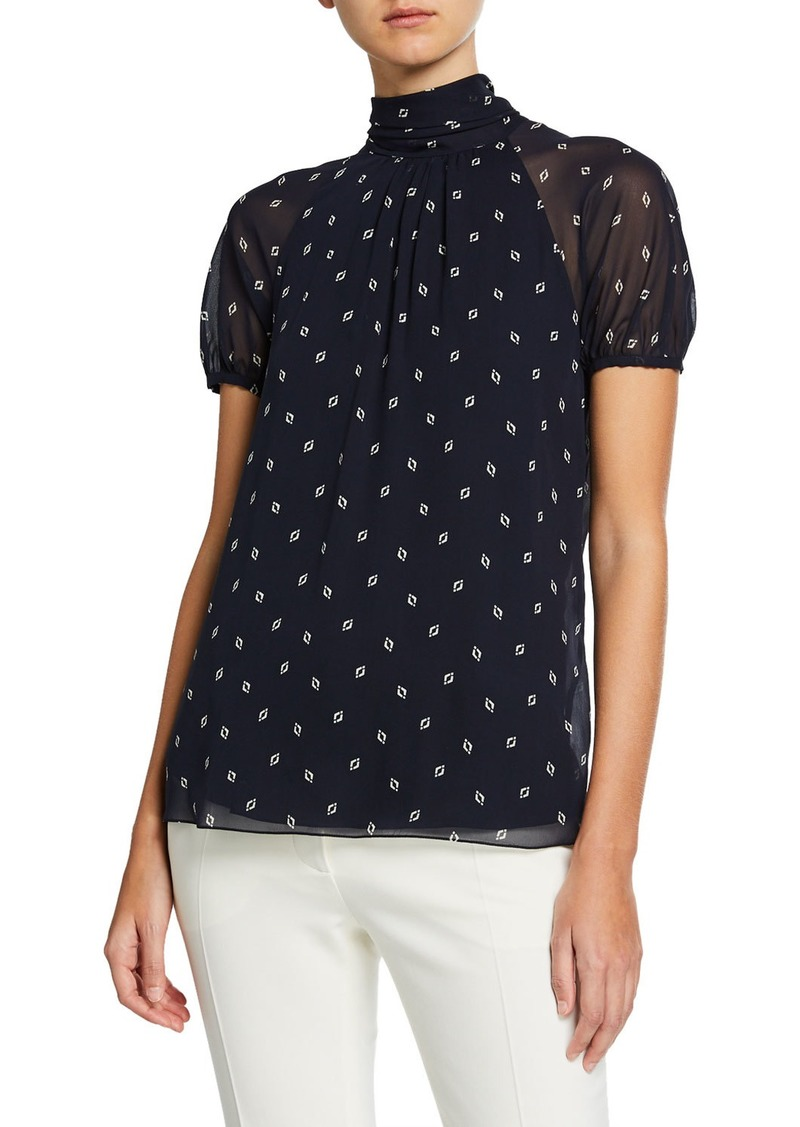 Ralph Lauren Short-Sleeve Diamante-Print Georgette Blouse
