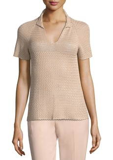 Short-Sleeve Raglan Crochet Polo