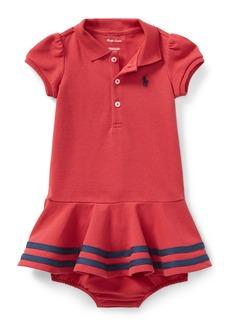 Ralph Lauren Short-Sleeve Striped-Hem Knit Polo Dress