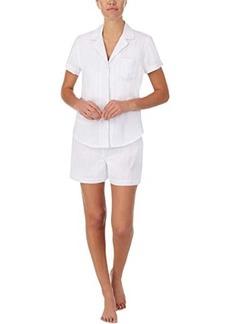 Ralph Lauren Short Sleeve Woven Notch Collar Boxer PJ Set