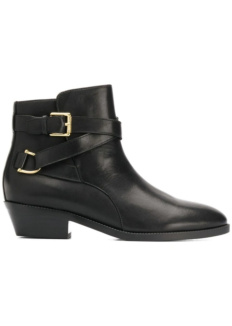 Ralph Lauren side buckle ankle boots