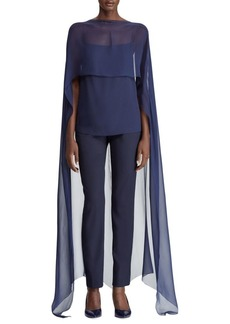 Ralph Lauren Silk Cape Blouse