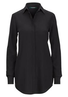 Ralph Lauren Silk Crepe Button-Down Shirt