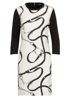 Ralph Lauren Silk-Printed Ponte Dress
