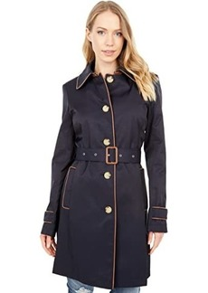Ralph Lauren Single Breasted Rain Coat with Faux Leather Trim