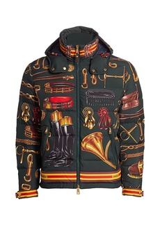 Ralph Lauren Skidmore Equine Kit-Print Down Puffer Jacket