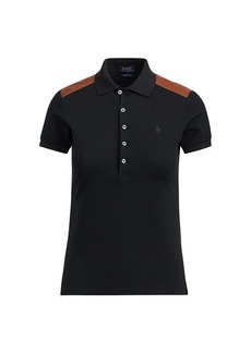 Ralph Lauren Skinny Leather-Trim Polo