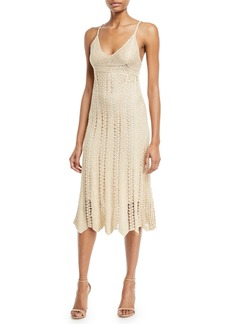Ralph Lauren Sleeveless V-Neck Crochet Camisole Midi Dress