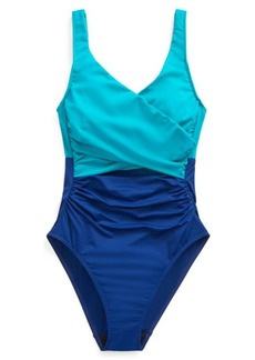 Ralph Lauren Slimming Color-Block One-Piece