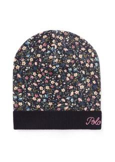 Ralph Lauren Slouchy Floral Wool Hat