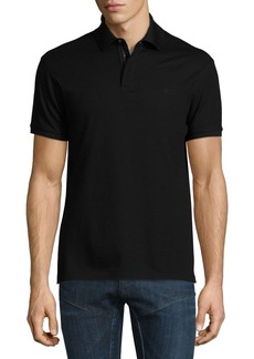 Ralph Lauren Snap/Zip Pique Polo Shirt  Black