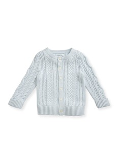 Ralph Lauren Soft Pearl Cotton Cable-Knit Cardigan  Blue  6-24 Months