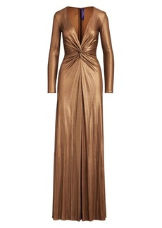 Ralph Lauren Stellan Embellished Metallic Deep-V Gown