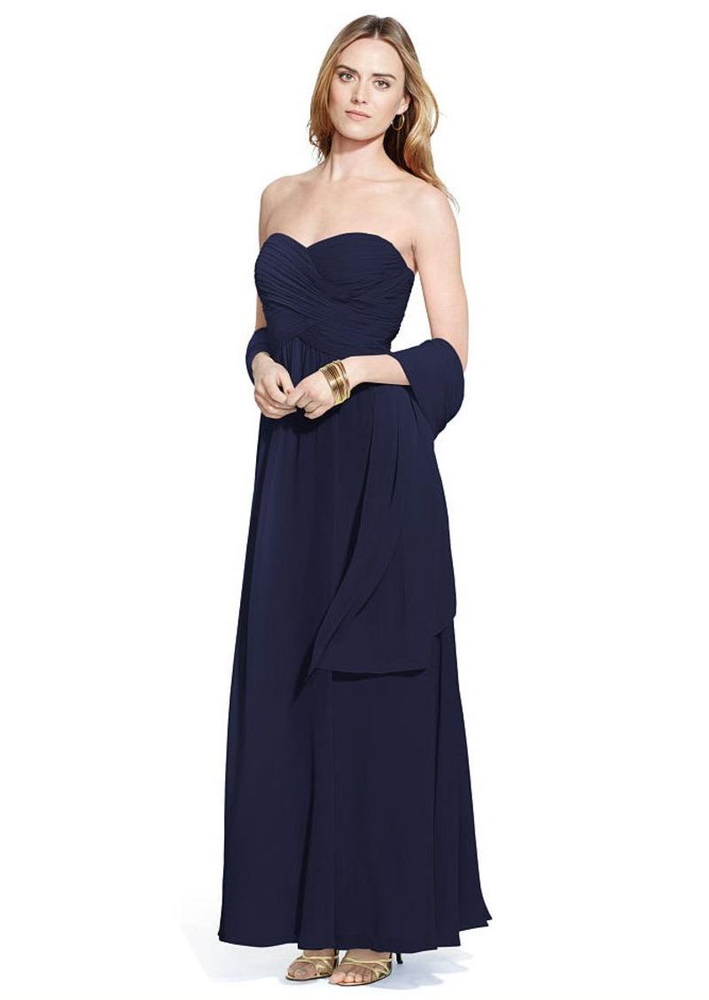 Ralph Lauren Strapless Georgette Gown