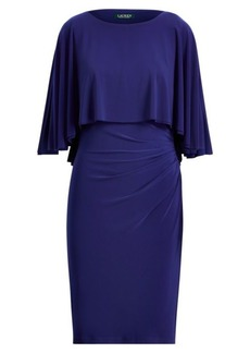 Ralph Lauren Stretch Jersey Cape Dress