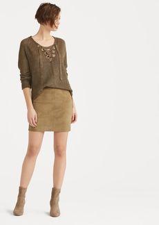 Ralph Lauren Stretch Suede Miniskirt