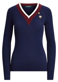 Ralph Lauren Stripe-Trim Patch Sweater